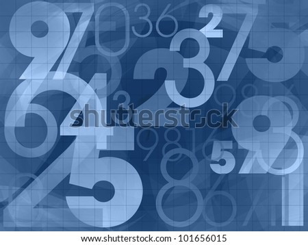 numbers dark blue background illustration - stock photo