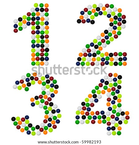 Numbers from colourful plastic balls