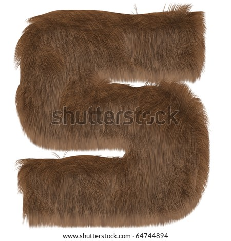 Numbers from fur. Isolated on white background. With clipping path. - stock photo