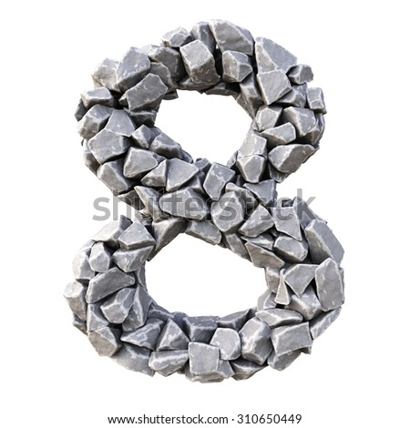 Numbers  from the stones. isolated on white background. - stock photo