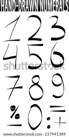 Numbers hand-drawn set - stock photo
