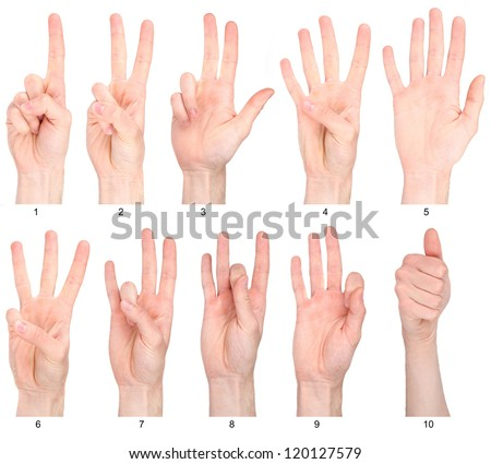 Numbers 1-10 in sign language