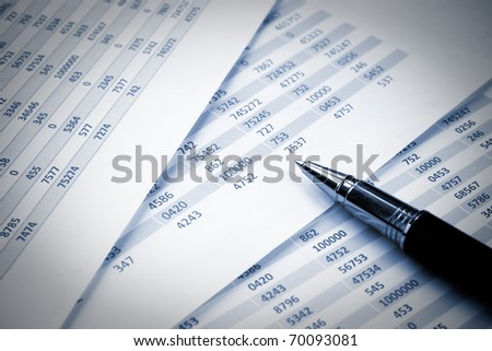 Numbers in table displayed on pages of notebook