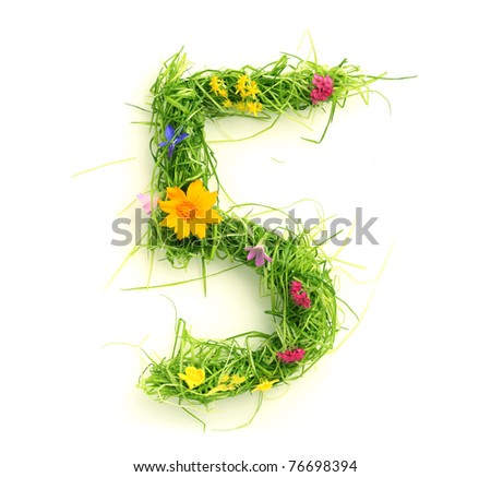 Numbers made of flowers and grass isolated on white - stock photo