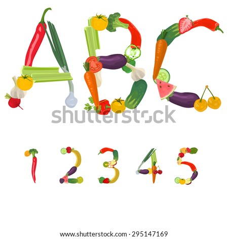 Numbers made of fruits and vegetables - stock photo