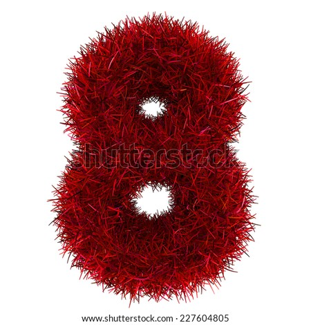 numbers of red grass concept. isolated on white.  - stock photo