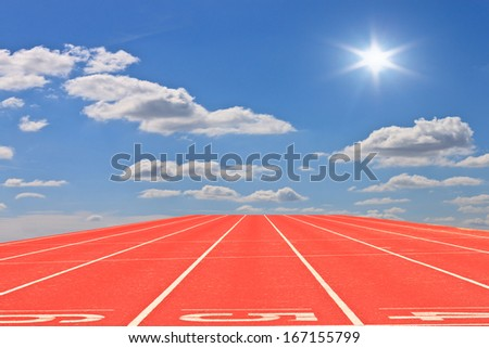 numbers on running tracks of outdoor at...  - stock photo