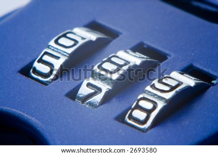 Numbers 5 6 7 8 9 on the blue combination lock - stock photo