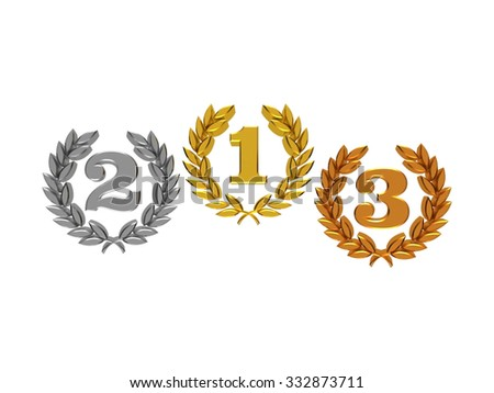 Numbers one, two, three in a laurel wreath (gold, silver, bronze) in 3D isolated on a white background