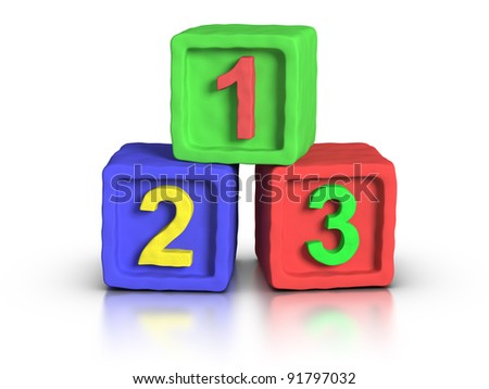 Numbers play block made with plasticine material. - stock photo