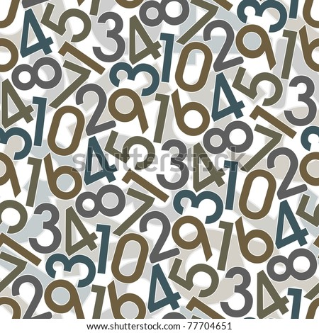 Numbers. Seamless wallpaper on white