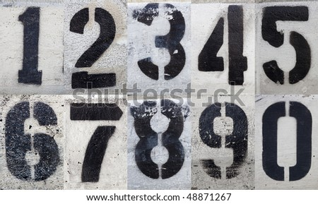 Numbers 0 to 9 Painted Stencils on Grungy Surface - stock photo