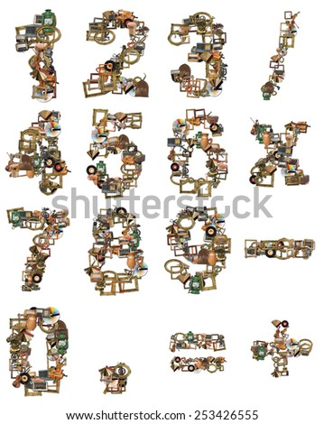Numbers Type Made of Retro Tools - stock photo