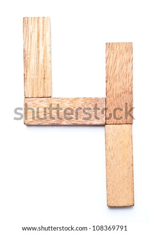 Numbers 4 with wooden floors and white. - stock photo