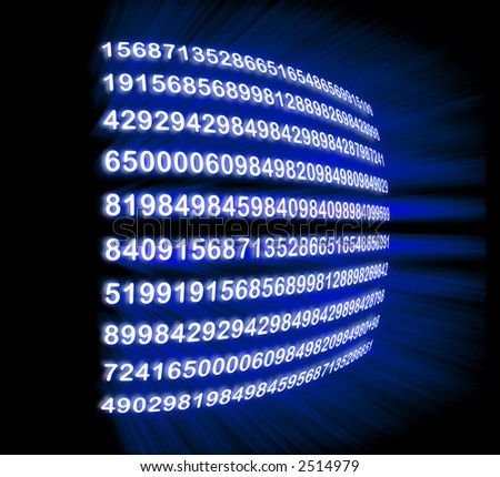 numbers zooming through a monitor - stock photo