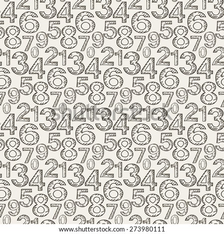 Numeral doodles. Seamless pattern. Abstract background. Line design. Background texture for Your design book web design, wallpapers for walls. Black and white color