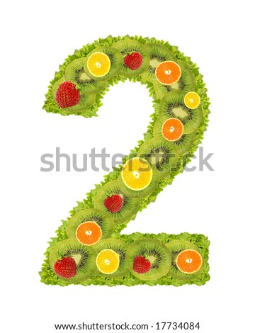 Numeral from fruit isolated on a white background - 2 - stock photo
