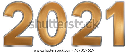 Numeral 2021, isolated on white background, 3d render