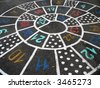 Numerals snail on asphalt for the playing - stock photo