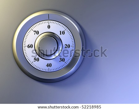 Numeric lock on a safe door. Digital illustration.