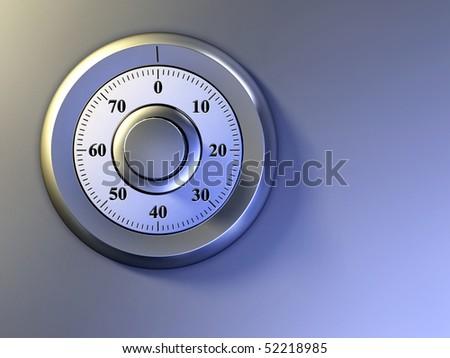 Numeric lock on a safe door. Digital illustration. - stock photo