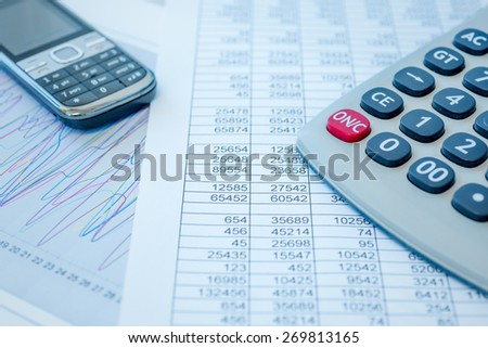 Numerical and graphical data simulating a financial study - stock photo