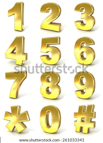Numerical digits collection, 0 - 9, plus hash tag and asterisk. 3D golden signs isolated on white background. Render illustration. - stock photo