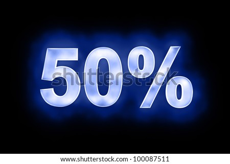 Numerical fifty percent in shimmering lights with a blue colouration on a dark background