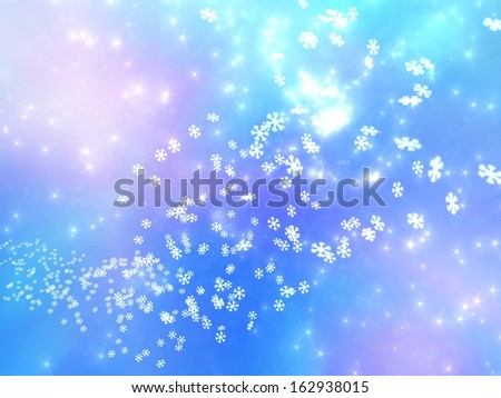 Numerous falling snowflakes on a pink and blue background, referring to concepts such as winter, seasonal weather, snow, as well as Christmas - stock photo