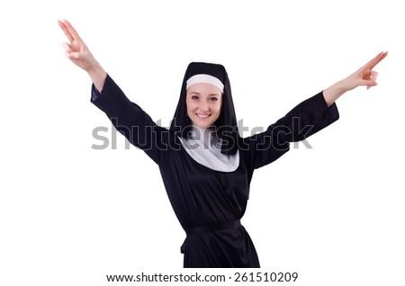 Nun isolated on the white background - stock photo