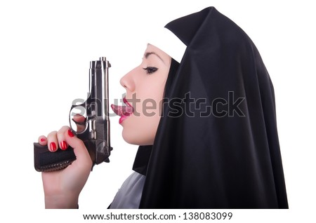Nun with gun isolated on the white - stock photo