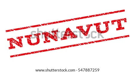 Nunavut watermark stamp. Text tag between parallel lines with grunge design style. Rubber seal stamp with dirty texture. Glyph red color ink imprint on a white background.