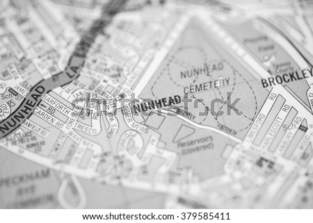 Nunhead. London, UK map.