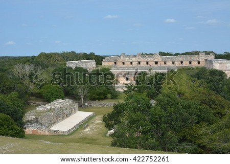Nunnery building in Uxmal, Yucatan Peninsula, Mexico.