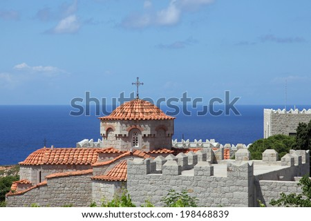 nunnery of Evangelismos on the island of Patmos, Greece - stock photo