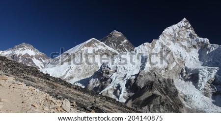 Nuptse i Mount Everest in the Himalaya - view from Kala Pattar   - stock photo