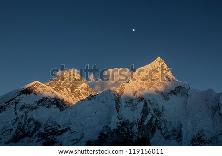Nuptse (7864 m) at sunset (view from Kala Patthar) - Everest region, Nepal - stock photo