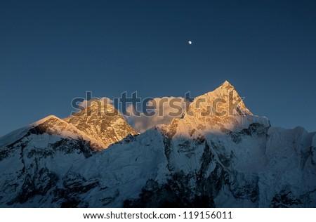 Nuptse (7864 m) at sunset (view from Kala Patthar) - Everest region, Nepal - stock photo