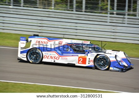 NURBURG, GERMANY - AUGUST 29: The Toyota Racing TS040 Hybrid No. 2 of Alexander Wurz, Stephane Sarrazin and Mike Conway during round 4 of the FIA WEC on August 29, 2015 at Nurburg, Germany.  - stock photo