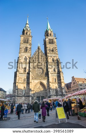 NUREMBERG - DECEMBER 8, 2016: Gothic facade of St Lawrence Church, Nuremberg, Germany. - stock photo