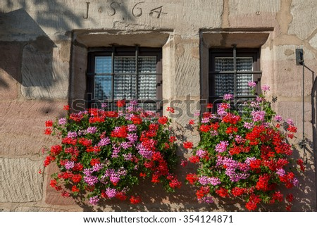 NUREMBERG, GERMANY : A traditional Bavarian house with blooming flowers