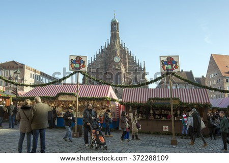 NUREMBERG, GERMANY - Dec. 20, 2015: Christmas market at marktplatz in Nuremberg Germany.  - stock photo