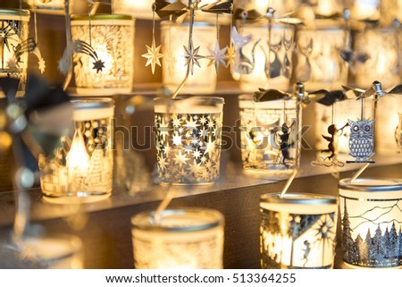 NUREMBERG, GERMANY - Dec. 20, 2015: Decoration items for Christmas in Christmas market or Weihnachtsmarkt in Germany
