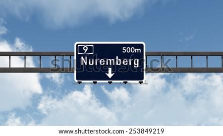 Nuremberg Germany English version Highway Road Sign 3D Illustration - stock photo