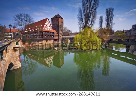 Nuremberg, Germany. Image of the Nuremberg old town during sunny spring day. - stock photo
