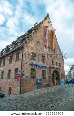 NUREMBERG, GERMANY - JAN, 3: View of the Old Town architecture in Nuremberg, Germany on January 3, 2014