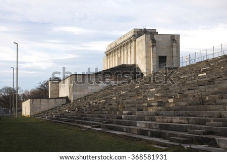"NUREMBERG , GERMANY - JANUARY 2016 : Ruin of the Zeppelin Grandstand located on the former Nazi Party Rally Ground ""Zeppelin Field"" in Nuremberg in January 2016"