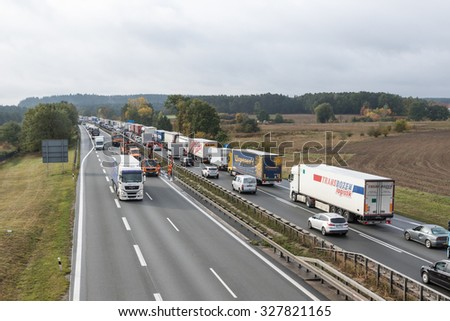 NUREMBERG, GERMANY - OCT 07: Bundesautobahn 3 links the border with the Netherlands to the Austrian border. Its total length of 778 km (483 mi). October 07, 2015  near Nuremberg, Germany. - stock photo