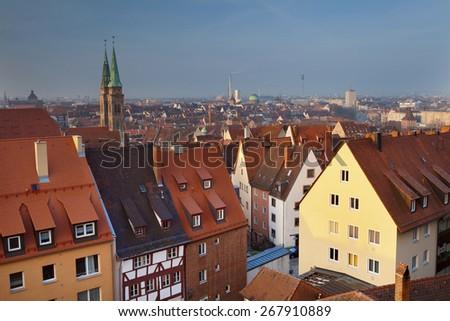 Nuremberg. Image of historic downtown of Nuremberg, Germany at sunrise. - stock photo
