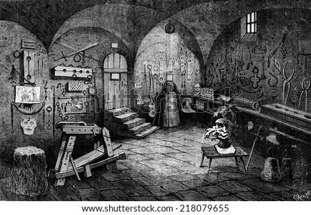 Nuremberg. Instruments of torture, vintage engraved illustration. Journal des Voyage, Travel Journal, (1880-81). - stock photo